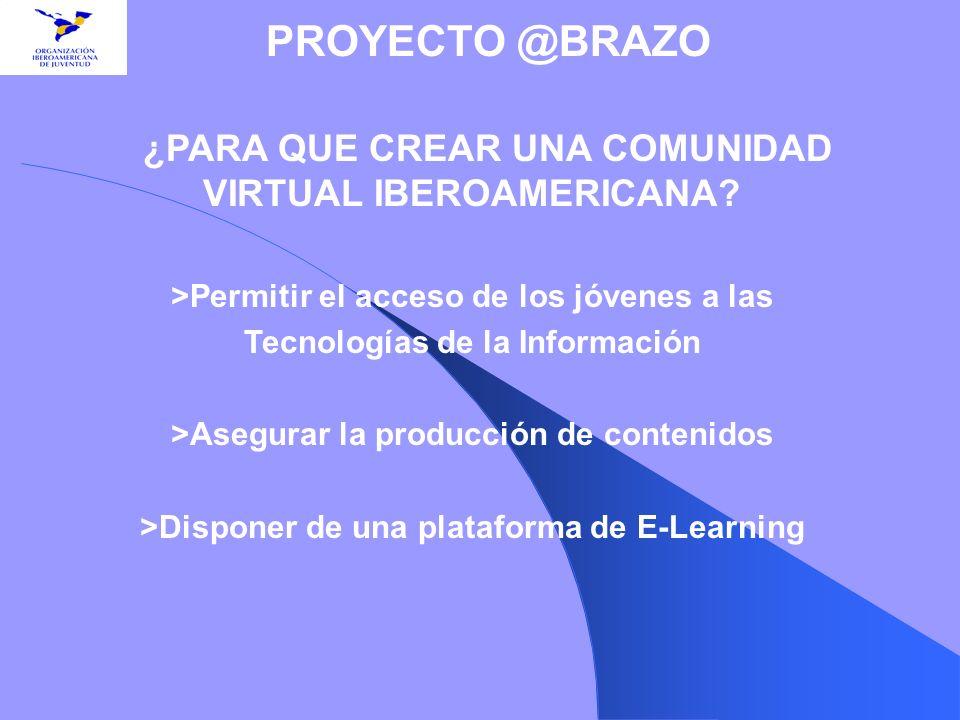 ¿PARA QUE CREAR UNA COMUNIDAD VIRTUAL IBEROAMERICANA? >Permitir el acceso de los jóvenes a las Tecnologías de la Información >Asegurar la producción d
