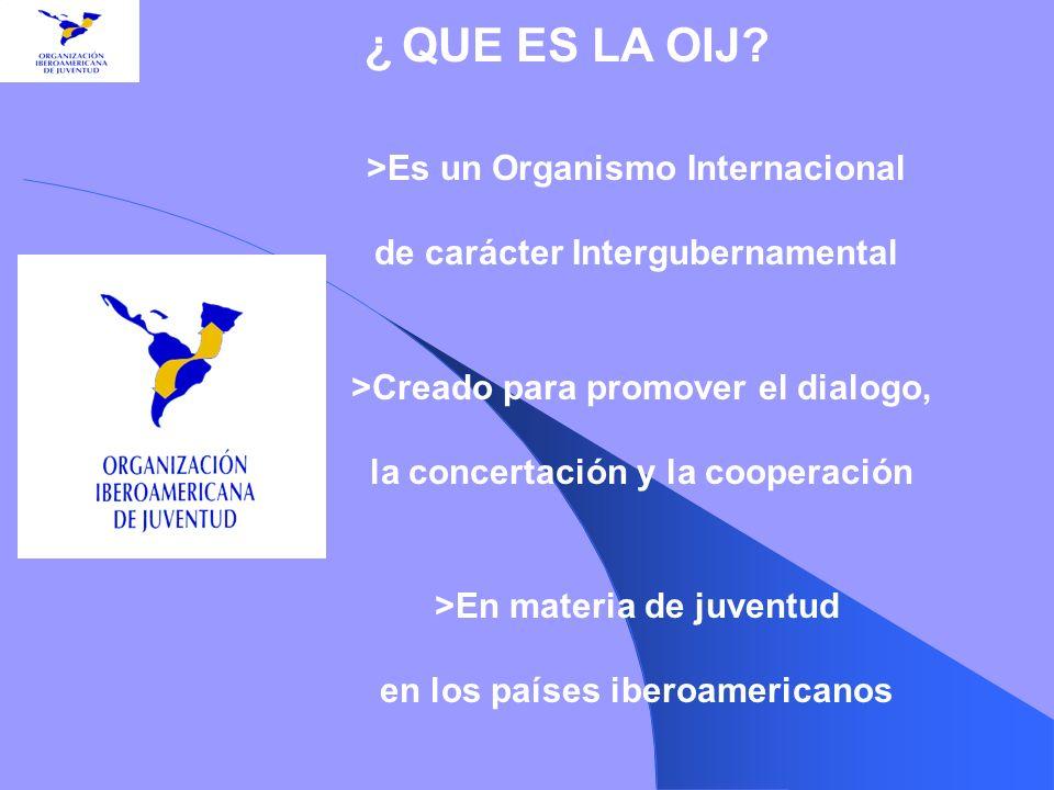 >Es un Organismo Internacional de carácter Intergubernamental >Creado para promover el dialogo, la concertación y la cooperación >En materia de juvent