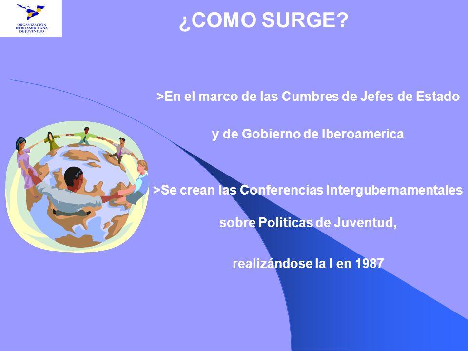 >En el marco de las Cumbres de Jefes de Estado y de Gobierno de Iberoamerica >Se crean las Conferencias Intergubernamentales sobre Politicas de Juvent
