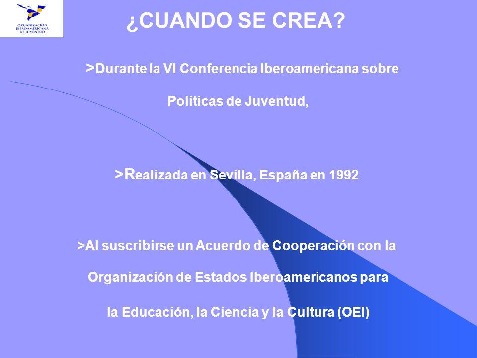 > Durante la VI Conferencia Iberoamericana sobre Politicas de Juventud, >R ealizada en Sevilla, España en 1992 >Al suscribirse un Acuerdo de Cooperaci