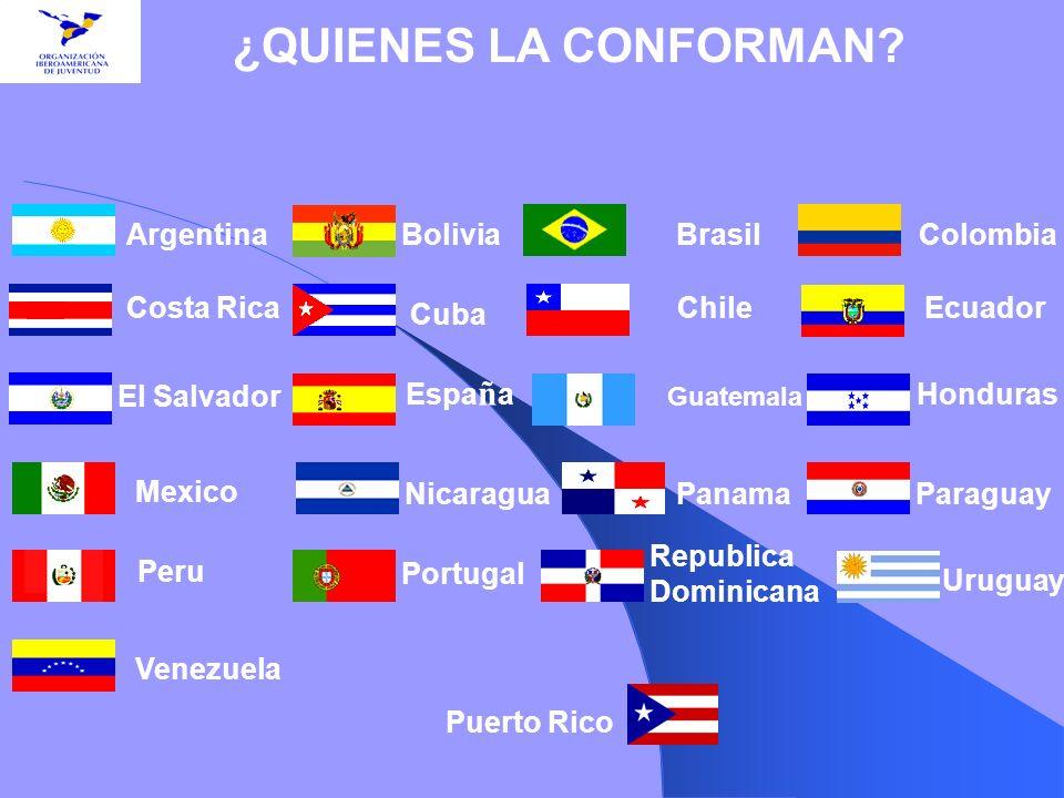 ¿QUIENES LA CONFORMAN? Argentina Costa Rica El Salvador Mexico Peru Bolivia Cuba BrasilColombia ChileEcuador Espa ñ a Guatemala Honduras NicaraguaPana