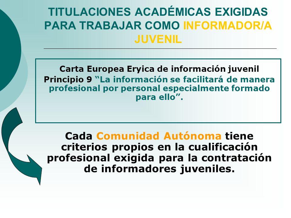 TITULACIONES ACADÉMICAS EXIGIDAS PARA TRABAJAR COMO INFORMADOR/A JUVENIL Carta Europea Eryica de información juvenil Principio 9 La información se fac