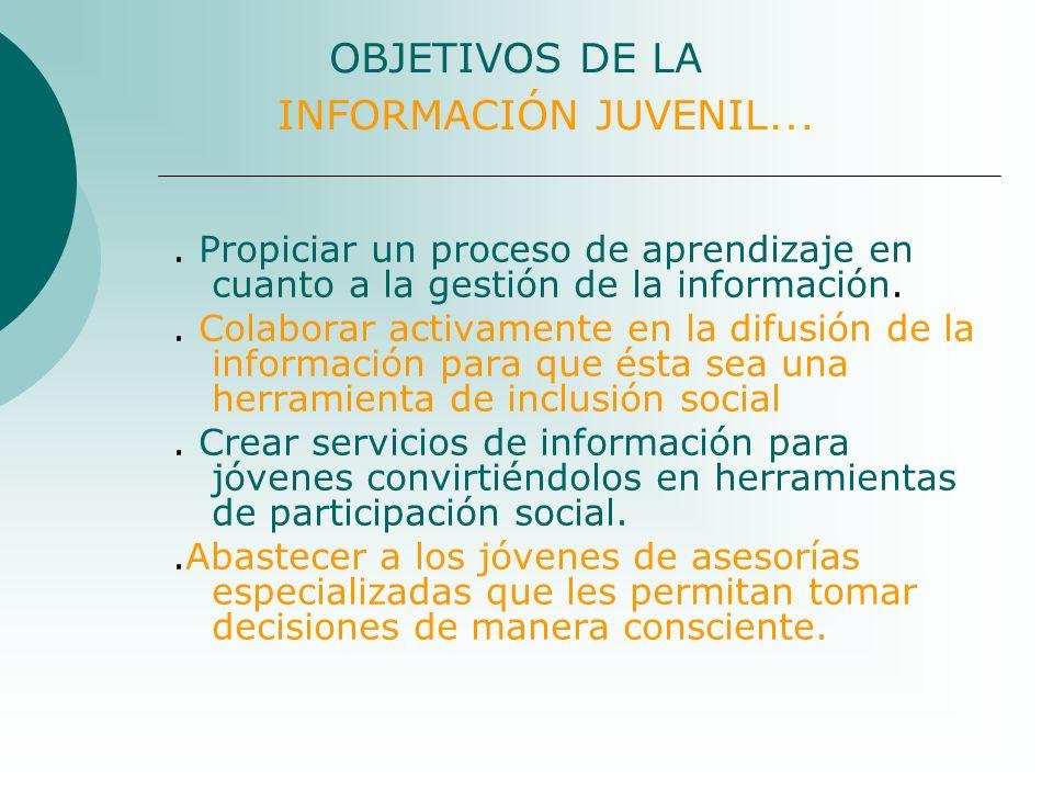 OBJETIVOS DE LA INFORMACIÓN JUVENIL …. Propiciar un proceso de aprendizaje en cuanto a la gestión de la información.. Colaborar activamente en la difu