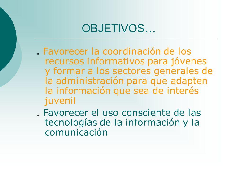OBJETIVOS…. Favorecer la coordinación de los recursos informativos para jóvenes y formar a los sectores generales de la administración para que adapte