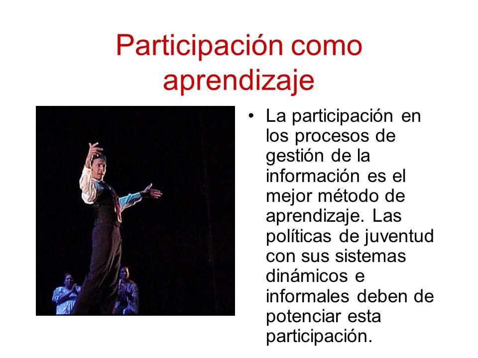 Participación como aprendizaje La participación en los procesos de gestión de la información es el mejor método de aprendizaje.