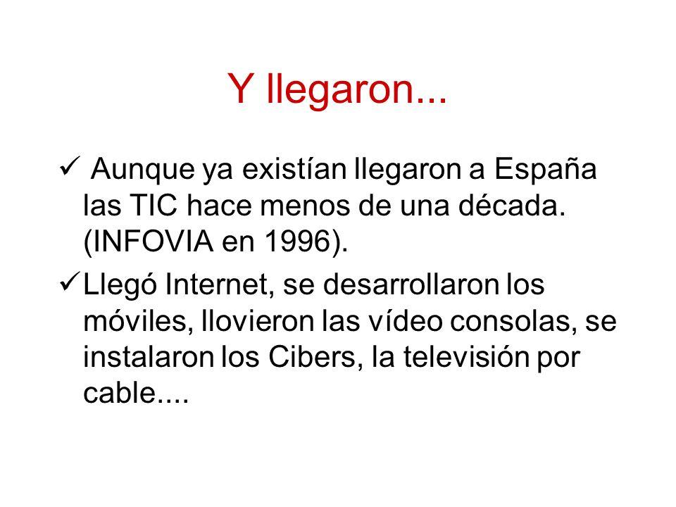 Y llegaron... Aunque ya existían llegaron a España las TIC hace menos de una década.