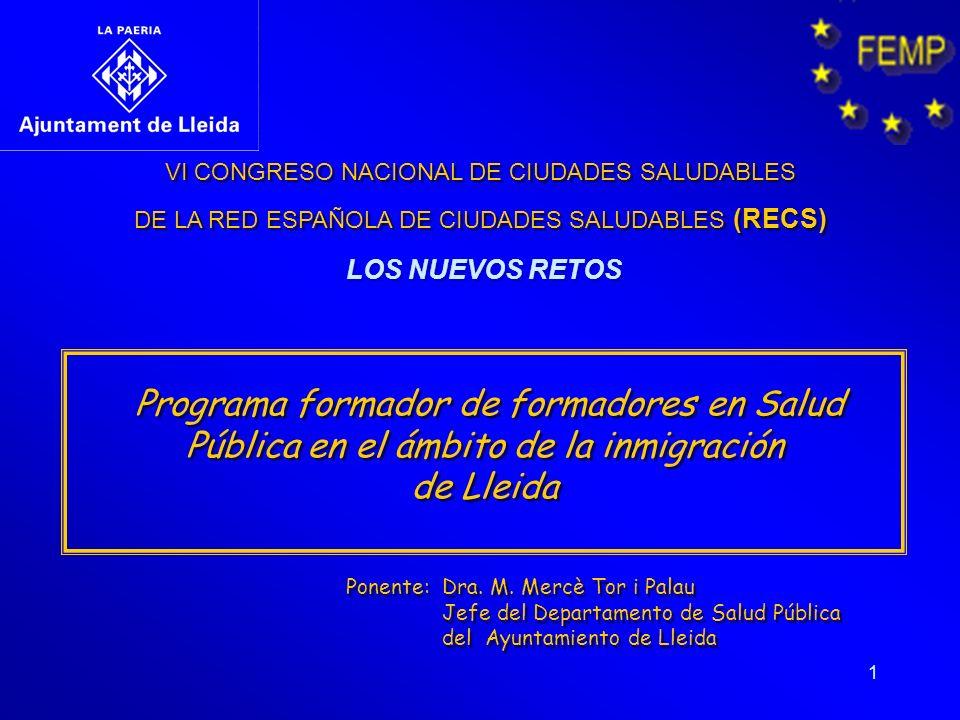 1 VI CONGRESO NACIONAL DE CIUDADES SALUDABLES DE LA RED ESPAÑOLA DE CIUDADES SALUDABLES (RECS) VI CONGRESO NACIONAL DE CIUDADES SALUDABLES DE LA RED E