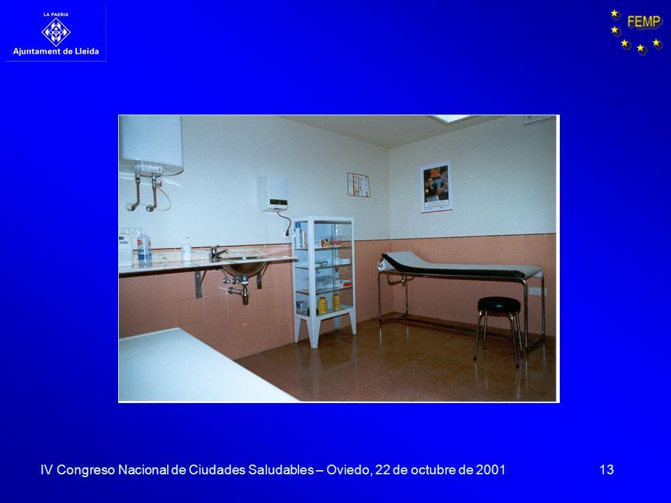 13 IV Congreso Nacional de Ciudades Saludables – Oviedo, 22 de octubre de 2001