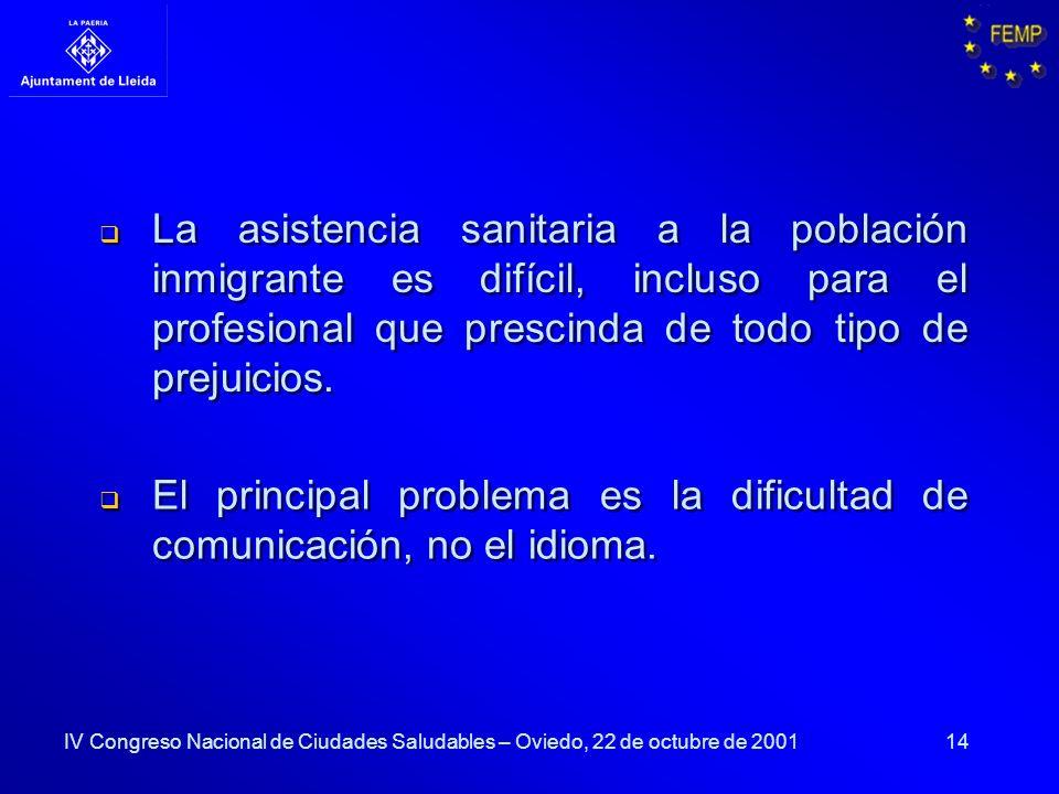 14 La asistencia sanitaria a la población inmigrante es difícil, incluso para el profesional que prescinda de todo tipo de prejuicios. El principal pr
