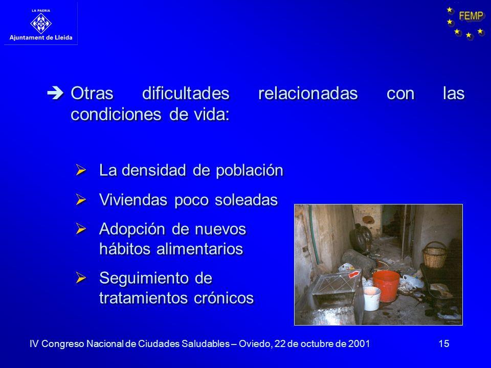 15 La densidad de población Viviendas poco soleadas Adopción de nuevos hábitos alimentarios Seguimiento de tratamientos crónicos La densidad de poblac
