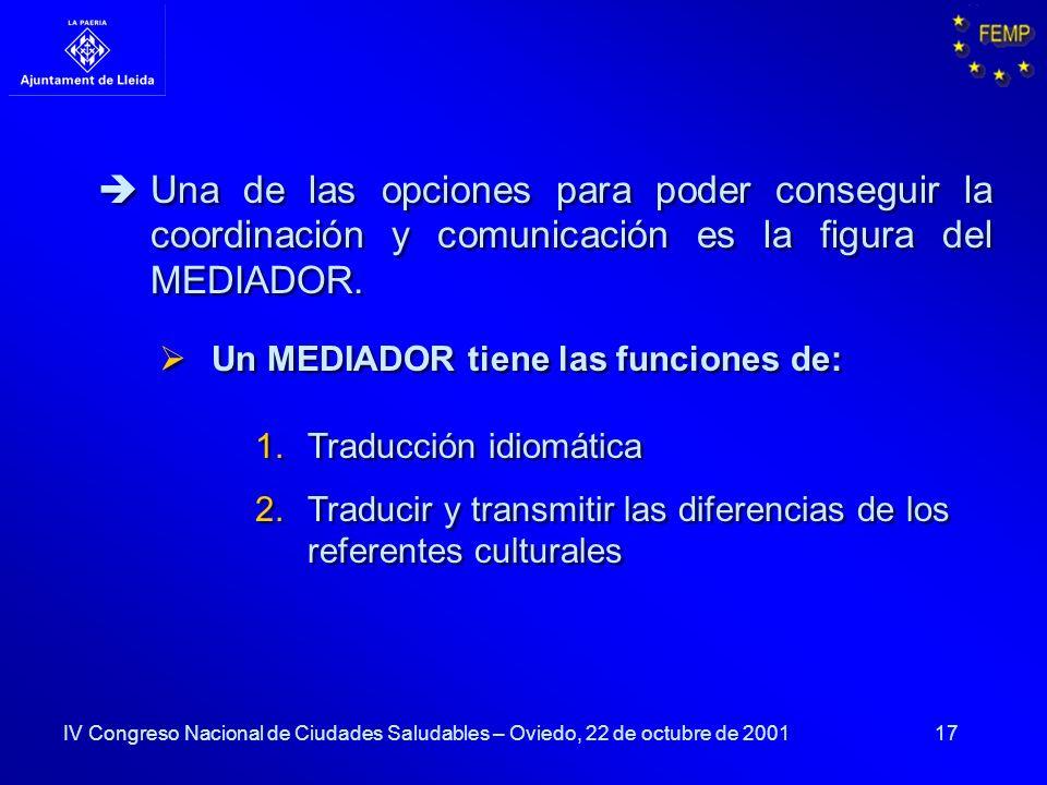 17 IV Congreso Nacional de Ciudades Saludables – Oviedo, 22 de octubre de 2001 1.Traducción idiomática 2.Traducir y transmitir las diferencias de los