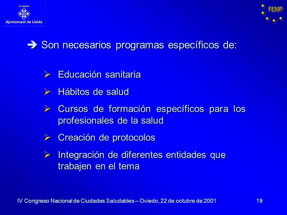 19 Son necesarios programas específicos de: Educación sanitaria Hábitos de salud Cursos de formación específicos para los profesionales de la salud Cr