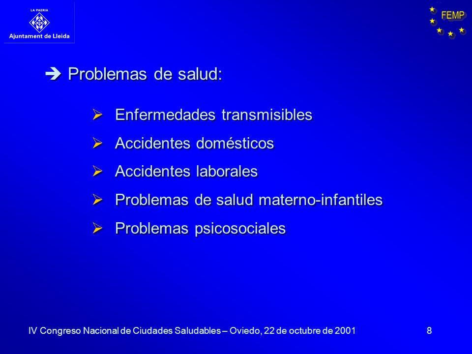 8 Enfermedades transmisibles Accidentes domésticos Accidentes laborales Problemas de salud materno-infantiles Problemas psicosociales Enfermedades tra