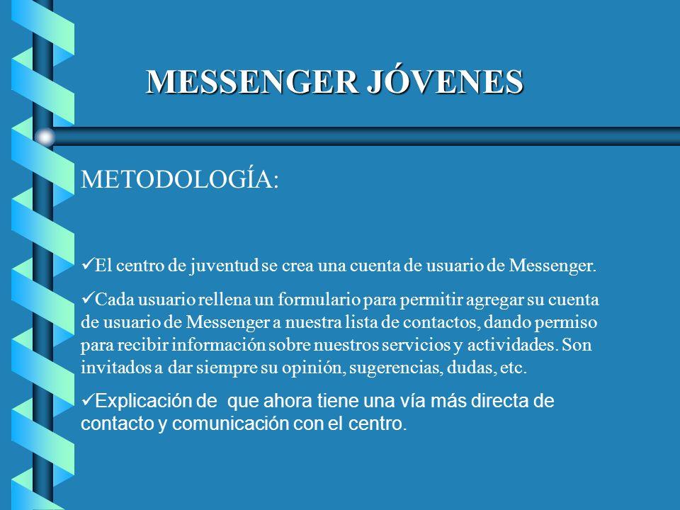 MESSENGER JÓVENES METODOLOGÍA: El centro de juventud se crea una cuenta de usuario de Messenger.