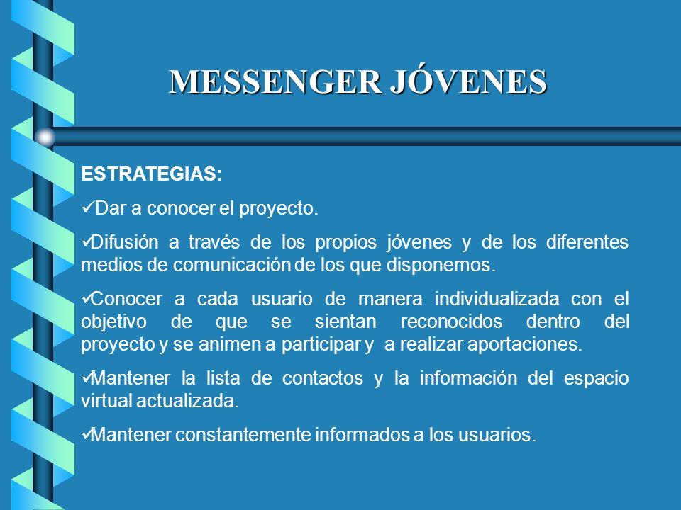 MESSENGER JÓVENES ESTRATEGIAS: Dar a conocer el proyecto.