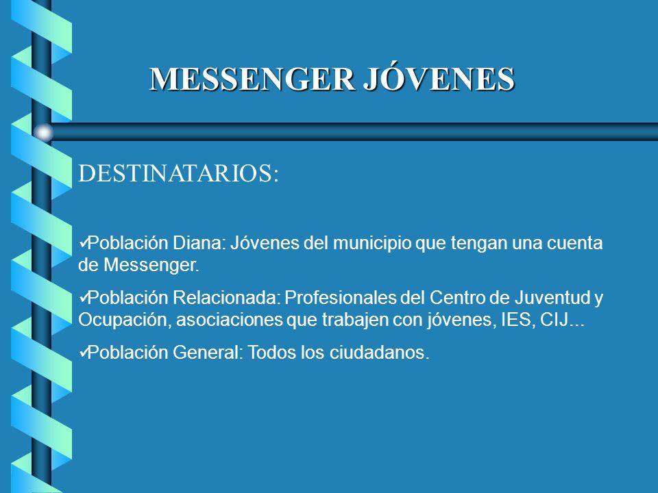 MESSENGER JÓVENES DESTINATARIOS: Población Diana: Jóvenes del municipio que tengan una cuenta de Messenger.