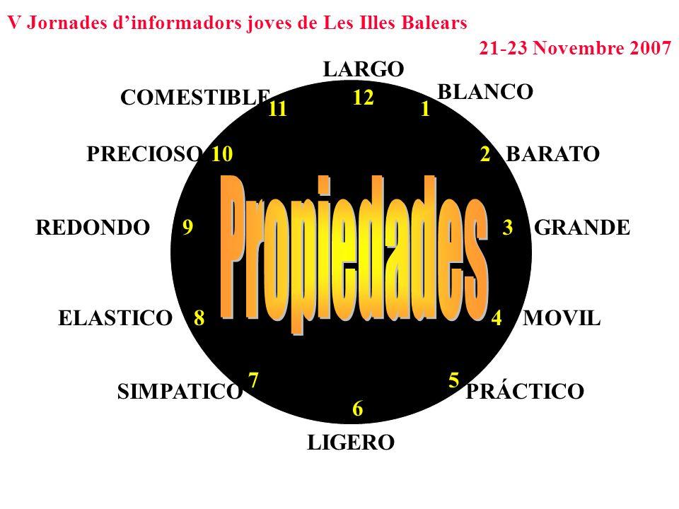 V Jornades dinformadors joves de Les Illes Balears 21-23 Novembre 2007 1 2 39 4 5 6 12 7 8 10 11 BLANCO BARATO GRANDE MOVIL PRÁCTICO LIGERO SIMPATICO