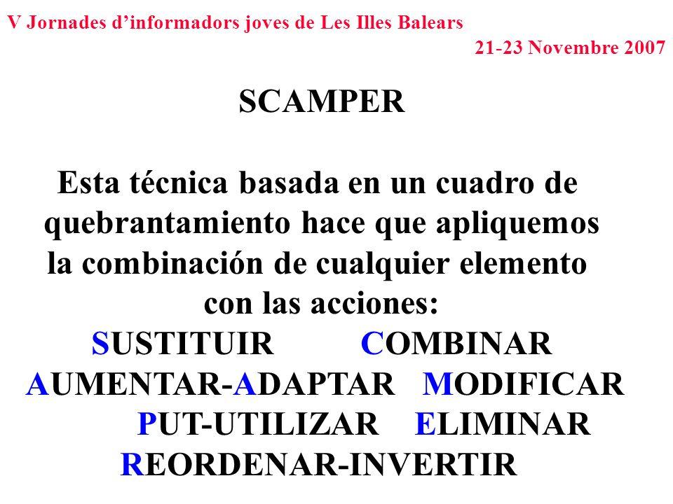 V Jornades dinformadors joves de Les Illes Balears 21-23 Novembre 2007 SCAMPER Esta técnica basada en un cuadro de quebrantamiento hace que apliquemos