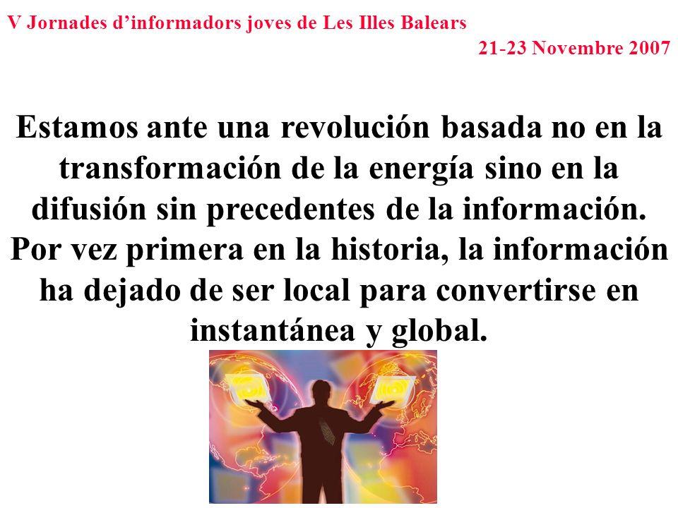 V Jornades dinformadors joves de Les Illes Balears 21-23 Novembre 2007 Estamos ante una revolución basada no en la transformación de la energía sino e
