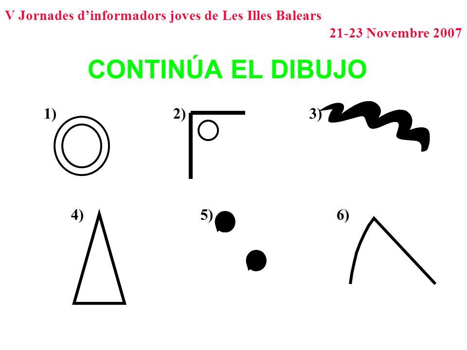 V Jornades dinformadors joves de Les Illes Balears 21-23 Novembre 2007 CONTINÚA EL DIBUJO 1)2)3) 4)5)6)