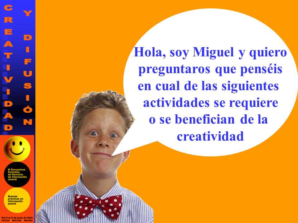 Hola, soy Miguel y quiero preguntaros que penséis en cual de las siguientes actividades se requiere o se benefician de la creatividad