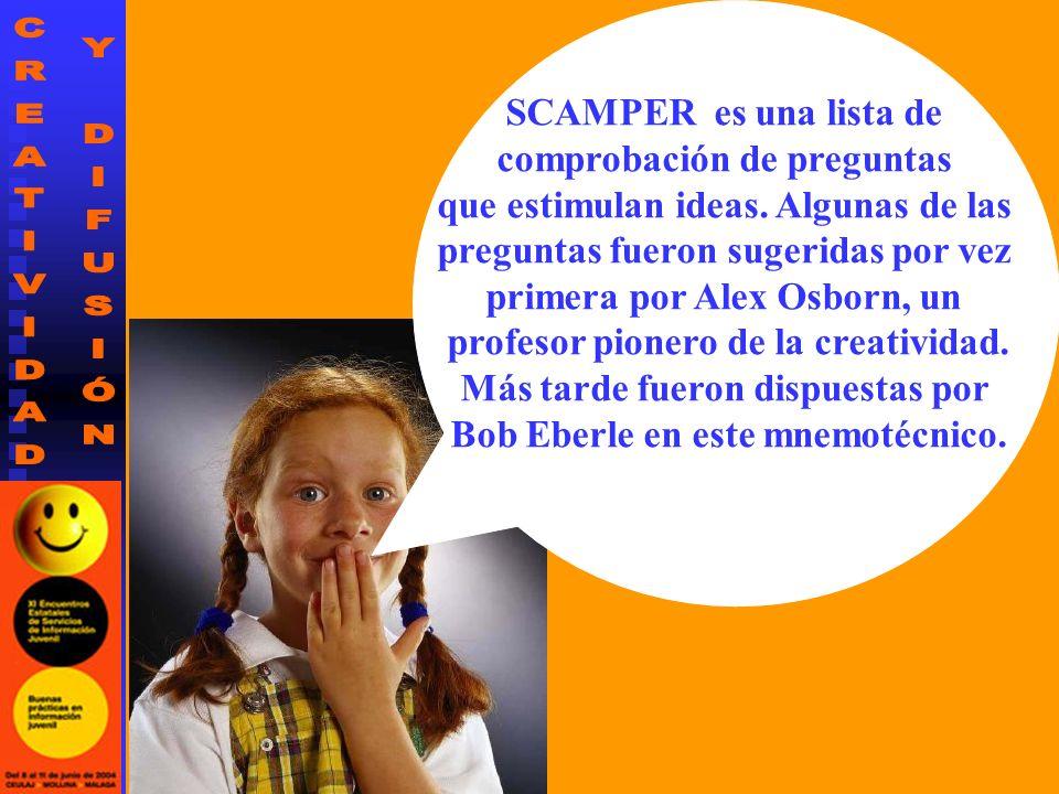 SCAMPER es una lista de comprobación de preguntas que estimulan ideas. Algunas de las preguntas fueron sugeridas por vez primera por Alex Osborn, un p