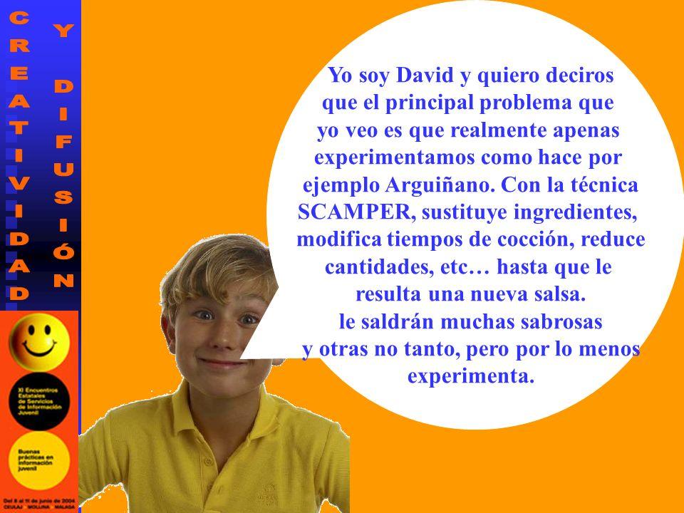 Yo soy David y quiero deciros que el principal problema que yo veo es que realmente apenas experimentamos como hace por ejemplo Arguiñano.