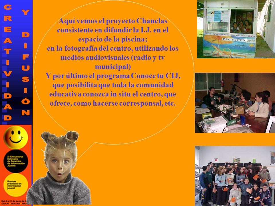 Aquí vemos el proyecto Chanclas consistente en difundir la I.J. en el espacio de la piscina; en la fotografía del centro, utilizando los medios audiov