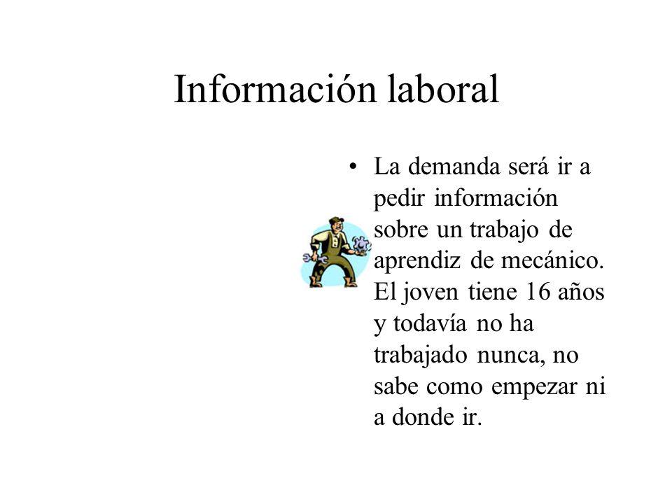 Información laboral La demanda será ir a pedir información sobre un trabajo de aprendiz de mecánico.