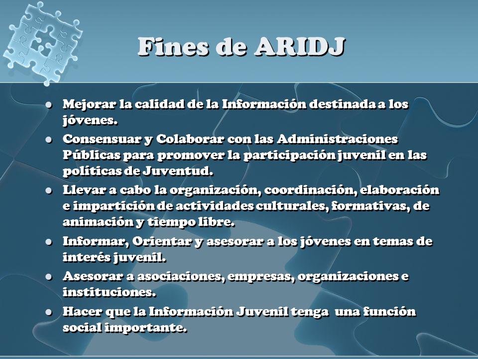 Fines de ARIDJ Mejorar la calidad de la Información destinada a los jóvenes. Consensuar y Colaborar con las Administraciones Públicas para promover la