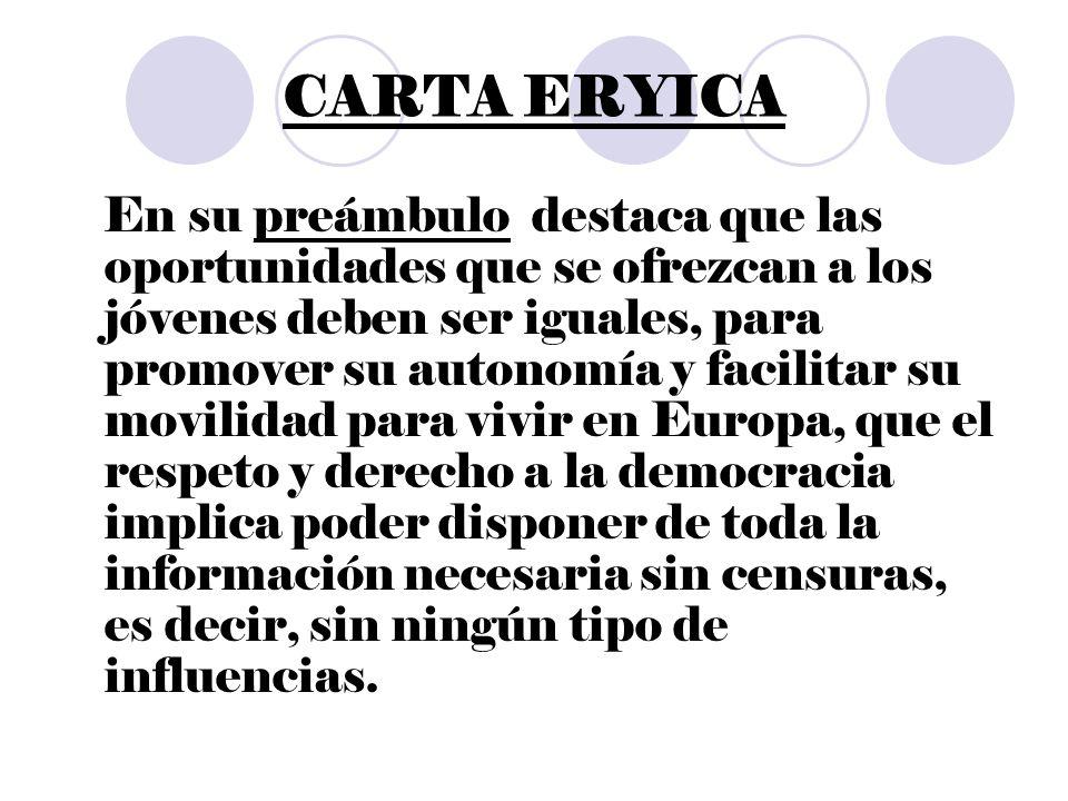Principios de la carta ERYICA 1.Los jóvenes tienen que tener a su disposición centros y servicios de información juvenil.
