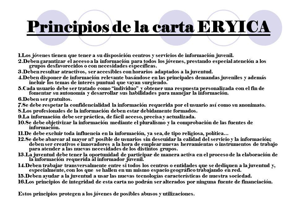 Principios de la carta ERYICA 1.Los jóvenes tienen que tener a su disposición centros y servicios de información juvenil. 2.Deben garantizar el acceso