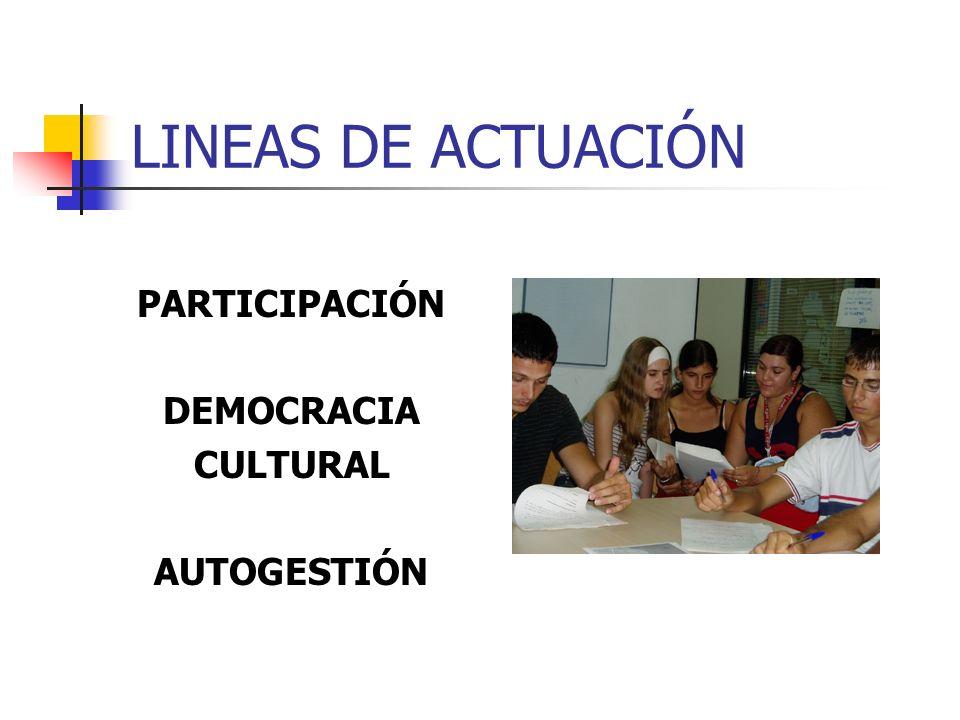 LINEAS DE ACTUACIÓN PARTICIPACIÓN DEMOCRACIA CULTURAL AUTOGESTIÓN