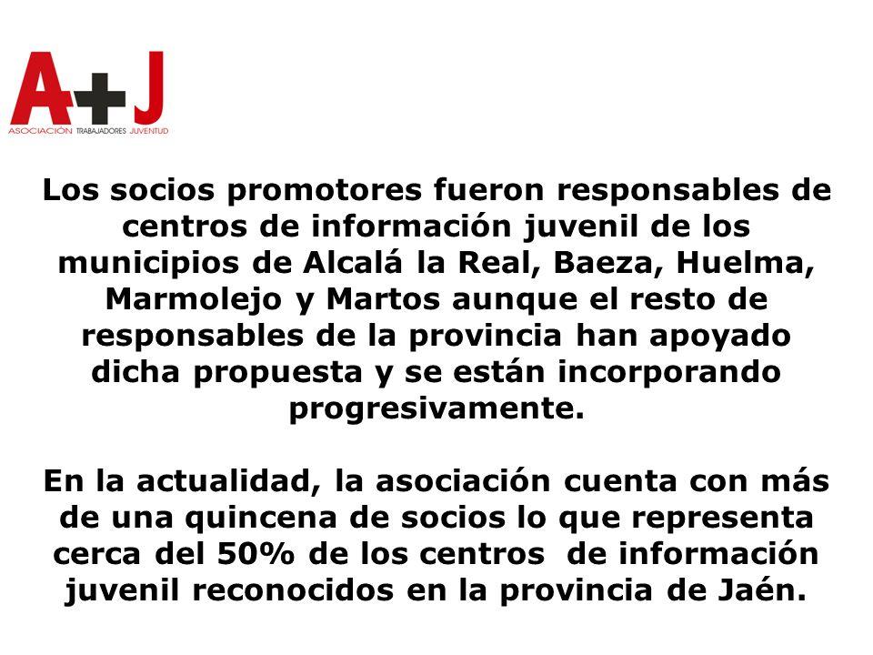Los socios promotores fueron responsables de centros de información juvenil de los municipios de Alcalá la Real, Baeza, Huelma, Marmolejo y Martos aunque el resto de responsables de la provincia han apoyado dicha propuesta y se están incorporando progresivamente.