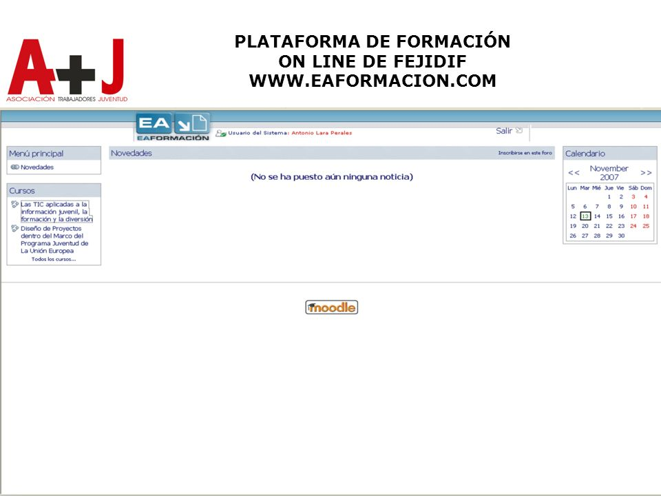 PLATAFORMA DE FORMACIÓN ON LINE DE FEJIDIF WWW.EAFORMACION.COM