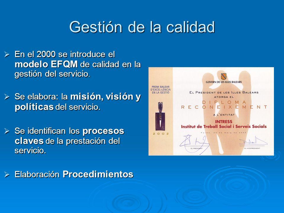 Gestión de la calidad En el 2000 se introduce el modelo EFQM de calidad en la gestión del servicio.