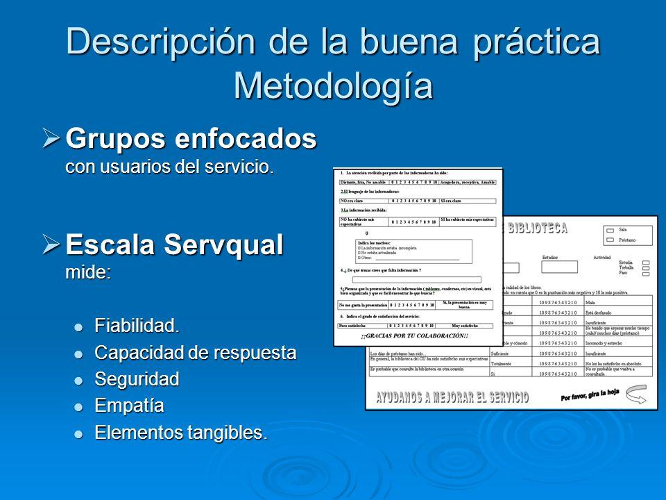 Descripción de la buena práctica Metodología Grupos enfocados con usuarios del servicio.