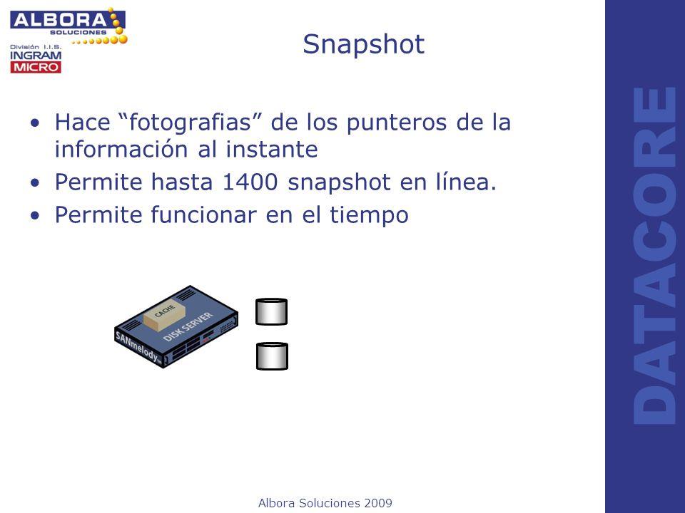 Albora Soluciones 2009 DATACORE Snapshot Hace fotografias de los punteros de la información al instante Permite hasta 1400 snapshot en línea. Permite