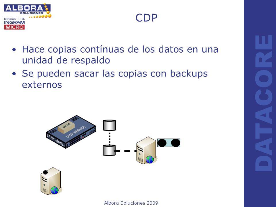 Albora Soluciones 2009 DATACORE CDP Hace copias contínuas de los datos en una unidad de respaldo Se pueden sacar las copias con backups externos