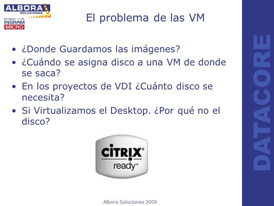 Albora Soluciones 2009 DATACORE El problema de las VM ¿Donde Guardamos las imágenes? ¿Cuándo se asigna disco a una VM de donde se saca? En los proyect