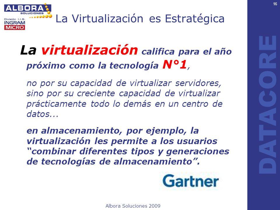 Albora Soluciones 2009 DATACORE La Virtualización es Estratégica La virtualización califica para el año próximo como la tecnología N°1, no por su capa