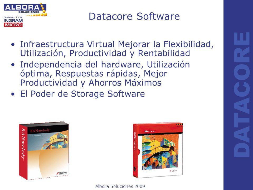 Albora Soluciones 2009 DATACORE Datacore Software Infraestructura Virtual Mejorar la Flexibilidad, Utilización, Productividad y Rentabilidad Independe
