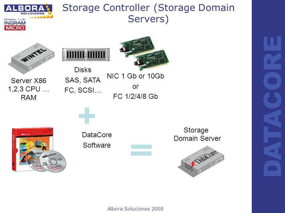 Albora Soluciones 2009 DATACORE Storage Controller (Storage Domain Servers) DataCore Software Disks SAS, SATA FC, SCSI… Server X86 1,2,3 CPU … RAM Sto