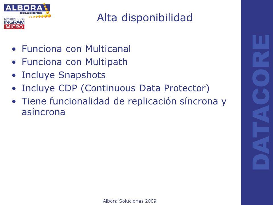 Albora Soluciones 2009 DATACORE Alta disponibilidad Funciona con Multicanal Funciona con Multipath Incluye Snapshots Incluye CDP (Continuous Data Prot