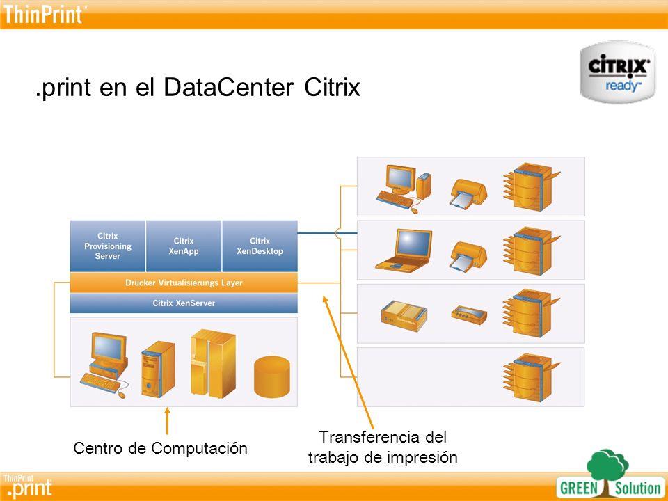 La principal ventaja de.print en ambientes Citrix En el centro de los sistemas Virtualización de la capa de impresión Mapeo de la impresión con AutoConnect Dirección de Impresora central Acerca de la transferencia de trabajo de Impresión Alta compresión de los datos de Impresión.