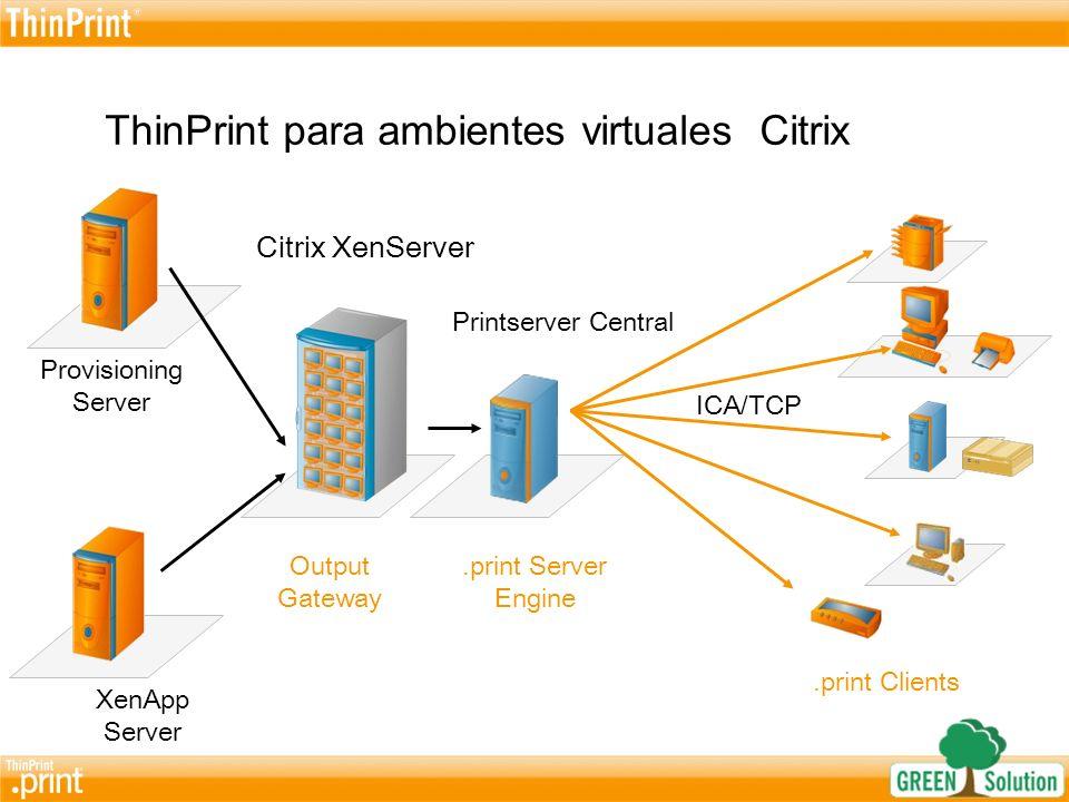 ThinPrint para todos los ambientes virtuales Citrix- con acceso Gateway Provisioning Server XenApp Server Citrix XenServer.print Server Engine.print Clients ConVCG atraves de ICA Output Gateway Servidor Central de Impresión Access Gateway