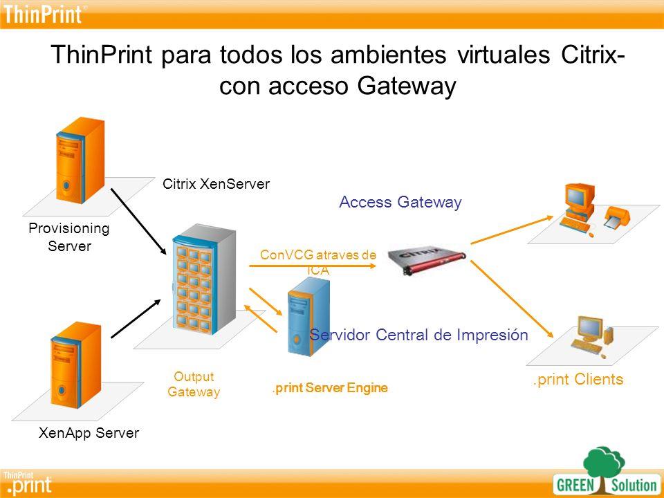 La pequeña solución para XenDesktop.print Client.print Desktop Engine.print Client ICA XPe XP/2000/98 Vista Compresión Adaptiva Rapidez Adaptada Streaming XenServer XenServer con XenDesktops