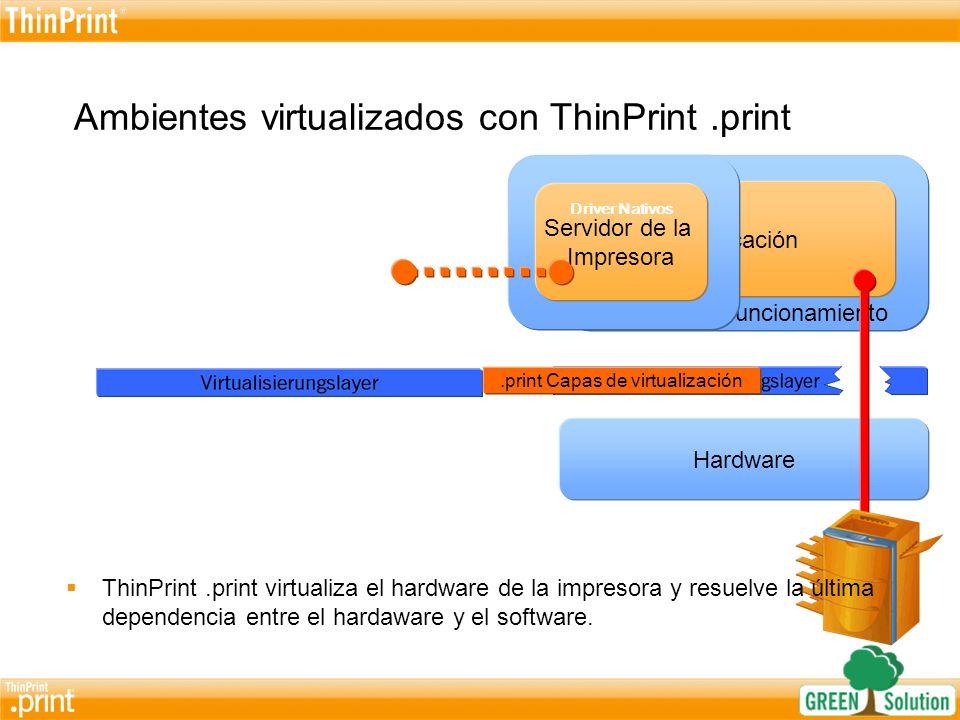 La ventaja de las capas de virtualización.print para impresoras en ambientes virtualizados Ninguna instalación o cuidado alguno son necesarios para los drivers de impresora nativos en los escritorios virtuales, es decir, servidores (Imágenes).