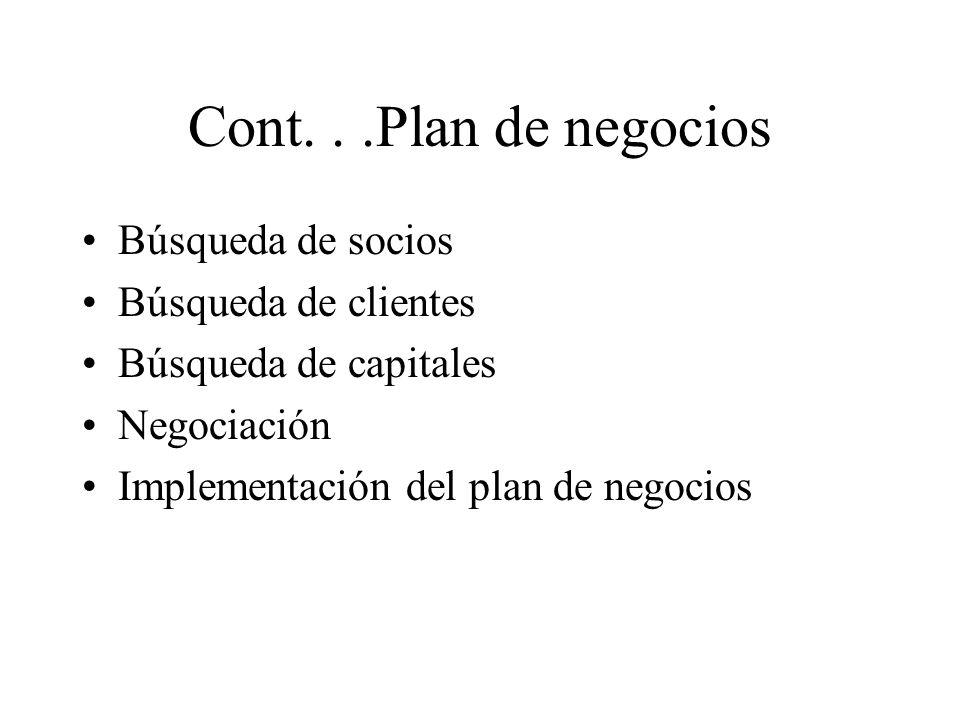 Cont...Plan de negocios Búsqueda de socios Búsqueda de clientes Búsqueda de capitales Negociación Implementación del plan de negocios