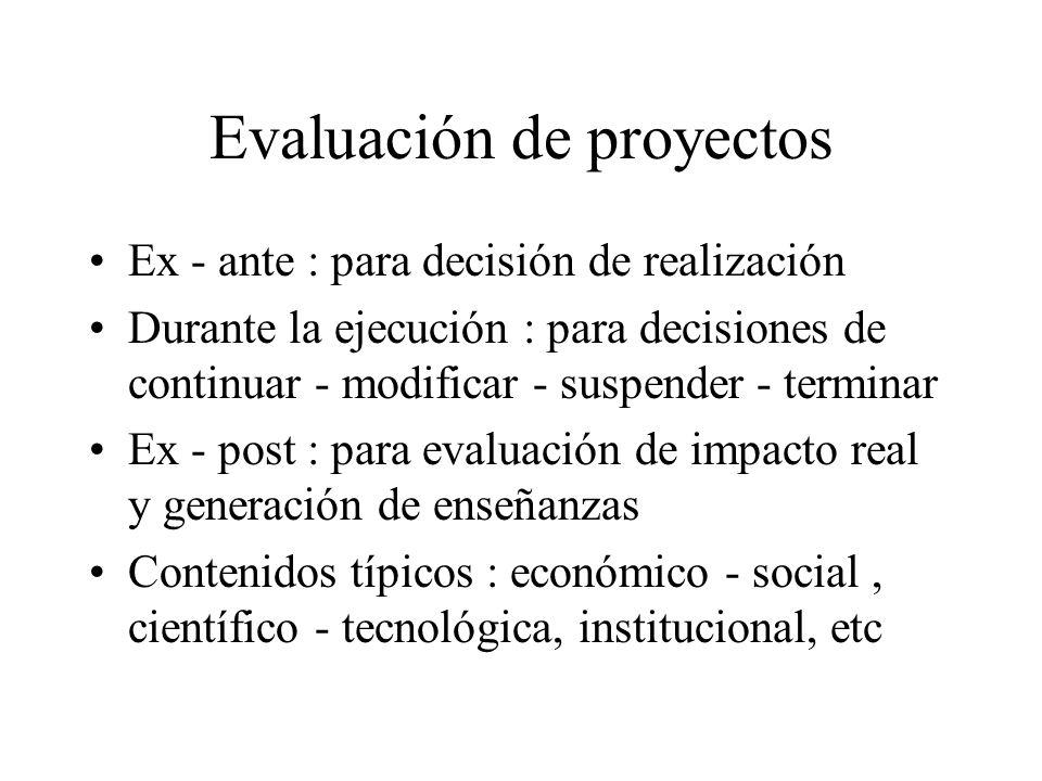 Evaluación de proyectos Ex - ante : para decisión de realización Durante la ejecución : para decisiones de continuar - modificar - suspender - termina